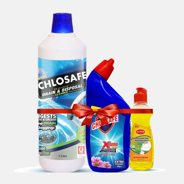 Chlosafe Drain Cleaner 1Ltr (Toilet Cleaner and Dish Wash free)