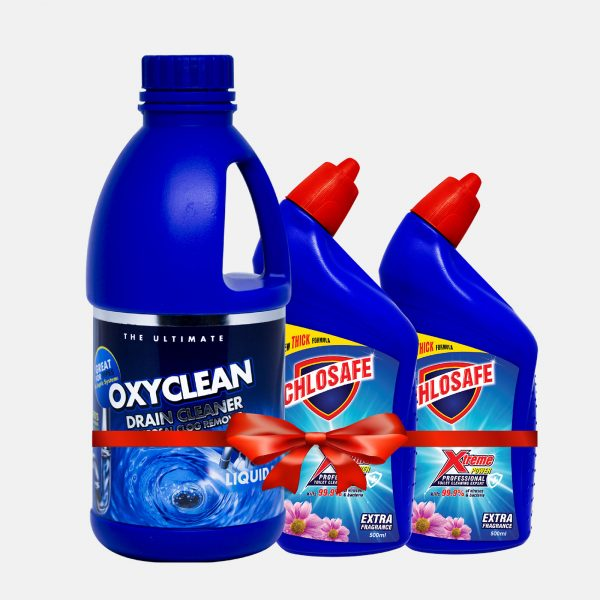 Oxyclean Drain Cleaner Blue 1ltr (2 Toilet Cleaner 500ml Free)